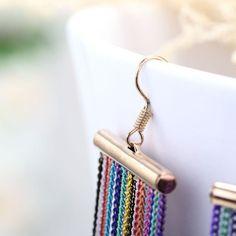 Hook Neon Long Chain Earrings #