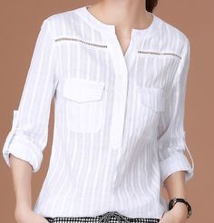 Material: Polyester Gender: Women Sleeve: Long sleeve pattern: Solid color Year season: 2016 summer Color classification: white Size: M L XL Dress Neck Designs, Blouse Designs, Lace Top Dress, Kurta Neck Design, Blouse Models, Indian Designer Outfits, Stylish Tops, Dress Sewing Patterns, Striped Fabrics