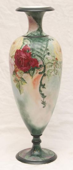 "22"" Guerin Hand Painted Limoges Vase"