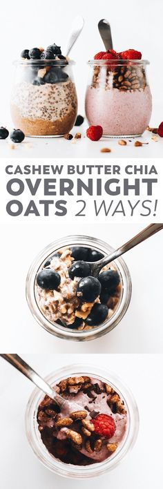 Chia Overnight Oats 2 Ways! cup rolled oats 1 cup non-dairy milk 2 tbsp chia seeds 1 tbsp maple syrup (to taste) 1 tbsp cashew butter* 1 tsp cinnamon (optional) tsp salt Chia Overnight Oats 2 Ways! cup rolled oats 1 cup non-dairy milk 2 tbsp … Clean Eating Breakfast, Make Ahead Breakfast, Vegan Breakfast Recipes, Vegan Snacks, Healthy Breakfast Recipes, Dessert Recipes, Breakfast Ideas, Healthy Food, Oatmeal Recipes