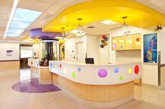 Renown Children's Hospital patient floor nurses station with aquarium, Reno, NV.