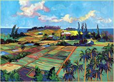 hawaii painting | ... palms, trade winds, blue skies with billowing clouds. Its Old Hawaii