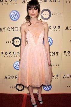 Keira's dreamy, peaches-and-cream ballerina gown by Rodarte with delicate petal straps