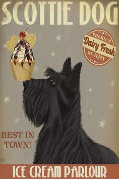 Scottish Terrier Ice Cream Canvas Art Print by Fab Funky Cream Canvas Art, Canvas Art Prints, Canvas Wall Art, Vintage Dog, Westies, Doge, Ice Cream, Puppies, Pets