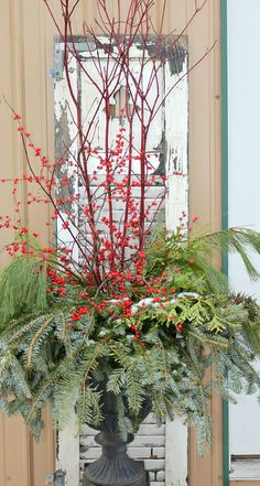 Cristhmas Tree Decorations Ideas : One of my favorite Christmas urns. Christmas Urns, Front Door Christmas Decorations, Christmas Planters, Christmas Arrangements, Outdoor Christmas, Winter Christmas, All Things Christmas, Christmas Home, Christmas Wreaths