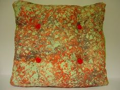 the fabric is silk; colored by marbling art. (ebru) it's dimensions: 45 cm. x 45…