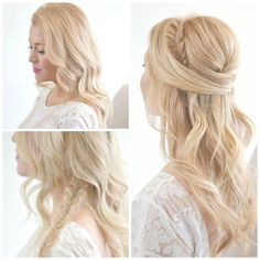 """Once hair is dry, using a 1.5 in curling iron, curl hair away from the face leaving an inch of hair out at the ends.Grab a small section from behind the ear and create a fishtail braid. Before securing fishtail with an elastic, begin to """"stretch"""" the fishtail by gently pulling each side all of the way up. Stretching will make the braid appear fuller. Secure with elastic.Wrap fishtail around the head and pin behind ear on the opposite side.Pin the rest of hair half up around the fishtail."""