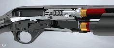Semi-automatic shotgun action.