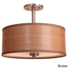 This 3-light, 15-inch single shade semi-flush mount is an excellent addition to your living space. This mount will give your room a warm, soft glow and utilizes three 60 watt bulbs.