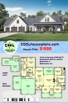 Best House Plans, Dream House Plans, Small House Plans, House Floor Plans, Building Plans, Building A House, Modern Farmhouse Plans, Farmhouse Style, 3 Car Garage