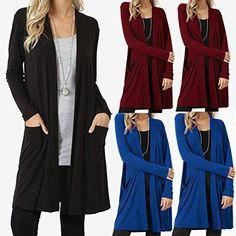 Bovake Womens Long Sleeve Cardigan Sweater Plus Size fd10ec431