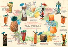 Cocktail menu from Hawaiian Village in Tampa, Florida - including the Tiki Bob mug, high on my got-to-have-it list.
