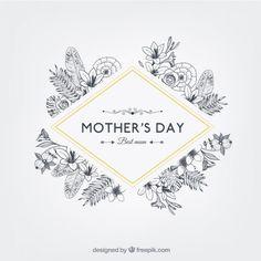 Badge Floral dia das mães em grande estilo retro