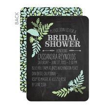 Chalked Leaves Bridal Shower Invitations