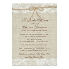 Country Rustic and Lace Wedding Bridal Shower 5x7 Paper Invitation Card #rustic #country #wedding  http://www.zazzle.com/country_rustic_and_lace_wedding_bridal_shower_invitation-161815530466317011?rf=238133515809110851&tc=PinterestMsPlnr