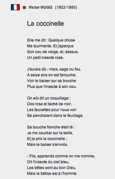 La coccinelle, poème, Victor Hugo, 1882. It's a poem about missed chances in life, about being too timid and not seizing opportunities, about regrets when you're old because you didn't seize fleeting love-moments...