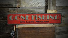 Custom Lake House Gone Fishing Sign - Rustic Hand Made Vintage Wooden ENS1001089
