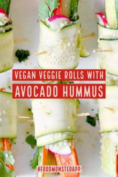 Check out this awesome vegan, plant-based, simple recipe on the Food Monster App! And don't forget to pin to your favorite board! Vegetarian Recipes Dinner, Vegan Recipes, Vegan Food, Veggie Rolls, Sushi Rolls, Unique Hummus Recipe, Avocado Hummus, Plant Based Recipes, Don't Forget