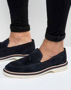 01ba49fb906 ASOS Loafers In Navy Suede With Wedge Sole at asos.com
