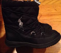 "Polo Ralph Lauren Toddler Boy ""Orao"" Black Quilted Winter Boots Sz 9 Worn Once 