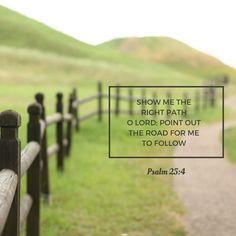 SHOW ME THE RIGHT PATH O LORD, POINT OUT THE ROAD FOR ME TO FOLLOW. Psalm 25.4