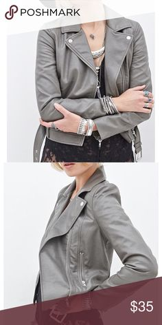 Forever 21 Faux Leather Belted Jacket NWOT. Tiny marks on back left side (pictured). Forever 21 Jackets & Coats