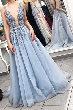 e59b48105fc Elegant V Neck Backless Light Blue Appliques Long Prom Dresses PG754   lightblue  promdresses