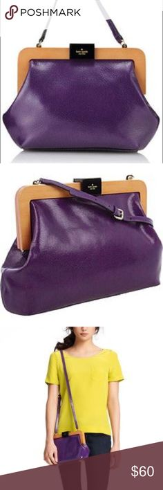 """Kate spade purple purse Kate spade purple leather purse in excellent condition. Wood trim features magnetic closure and adjustable length shoulder strap. 10""""x12""""x2.5"""", shoulder strap currently set to approx 22"""". kate spade Bags Shoulder Bags"""