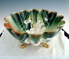Antique art porcelain bowl hand painted white magnolias PT Bavaria from Victoria's Curio Exclusively on Ruby Lane