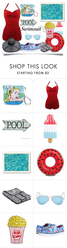 """""""Swimsuit"""" by jeneric2015 ❤ liked on Polyvore featuring Icon, Old Navy, Hot Topic, Americanflat, Big Mouth, HAY, Sperry, stylishcurves and plussizeswimsuit"""