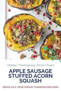 The Best Apple Sausage Stuffed Acorn Squash, an easy comforting acorn squash recipe that screams fall! Tender roasted acorn squash filled with a flavorful apple and sausage filling then topped with juicy pomegranate. This quick dinner idea makes a great main dish and is perfect for the holidays! #squash #fallrecipes #holidayrecipes Easy Holiday Recipes, Best Dinner Recipes, Fall Recipes, Sweet Recipes, Real Food Recipes, Vegetarian Recipes, Healthy Recipes, Steak Chili Recipe, Sausage Stuffed Acorn Squash