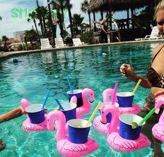 Ducha de bebé Juguetes de baño de Verano Mini piscina Inflable accesorios niños Flamingo Flotante Portabebidas Fiesta en la Playa de piscine