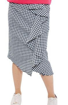 Topshop Ruffle Gingham Midi Skirt available at #Nordstrom