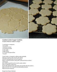 Cookie Cutter Sugar Cookies with a taste of lemon
