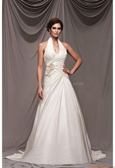 V-neck Neckhalter A-linie Preiswerte Brautkleider 2014