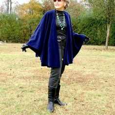 Navy Blue Shawl, Wrap, Cape,Ruana or Poncho in Anti Pill  Fleece--One Size Fits Many by YoungbearDesigns on Etsy
