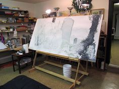 Artist Charles Vess' studio in rural Virginia.
