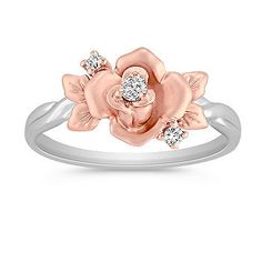 Round Diamond Ring in 14k White and Rose Gold.   This uniquely feminine fashion ring crafted from quality 14 karat white and rose gold, features a lovely floral design.  Three round diamonds, at approximately .08 carat total weight, provide the perfect accent. #ShaneCoLBD