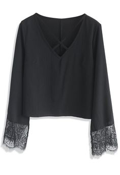 Cross Chiffon Top with Lace Bell Sleeves in Black- New Arrivals - Retro, Indie and Unique Fashion