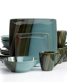 Sango Dinnerware, Avanti Green 16 Piece Set - Casual Dinnerware - Dining & Entertaining - Macy's