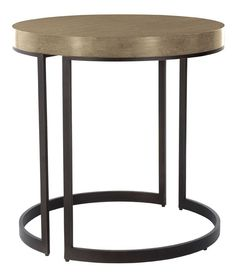 "Bernhardt Elements Sand finish on white oak 335-114S round side table with metal base.  26"" Diameter X 26"" high."