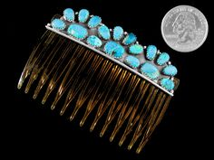 Navajo Hair Comb Turquoise Kingman Sterling Silver Native American Indian | eBay