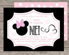 Minnie Mouse First Birthday Invitation By BabyDesignCo On Etsy