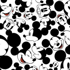 Disney Mickey Mouse Allover Faces 100% Cotton Print Fabric by the yard