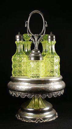 RARE Vintage Vaseline Uranium Glass Victorian 5 Bottle Castor Cruet Set in Frame | eBay