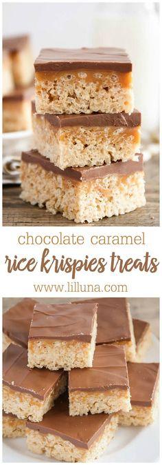 Delicious Chocolate Caramel Peanut Butter Rice Krispies Treats { lilluna.com } A layer of rice krispies, caramel, and melted chocolate chips with peanut butter.