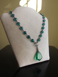 Art Deco Teal Green Bezel Set Crystal Sterling Repoussé Choker Necklace Antique   eBay