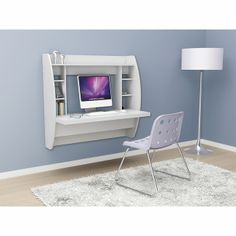 Wall Mounted Floating Desk in White - PREPAC - WEHW-0200-1 for the Lowest Price at EZBuyFurniture