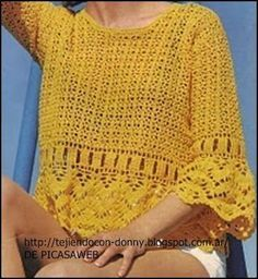 TEJIDOS A CROCHET - GANCHILLO - PATRONES: WOVEN REMERA CROCHET WITH ITS PATTERNS
