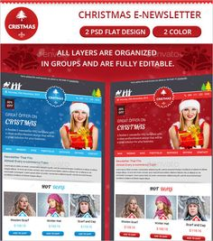 This 2 Christmas email newsletter Photoshop gives you two different templates you can use as a newsletter to promote your business this festive season to clients at very affordable rate.